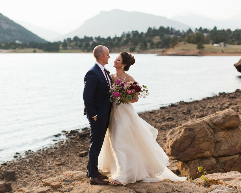 lakeside bride in leanne marshall dress