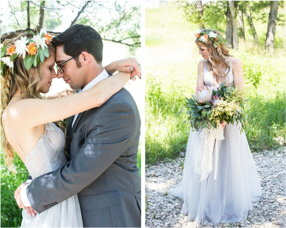 Wyoming wedding with grey wedding skirt