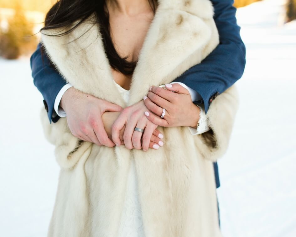 winter wedding with fur coat