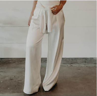 charmeuse wide leg white pants