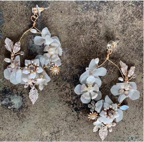 dainty floral wreath chandelier earrings