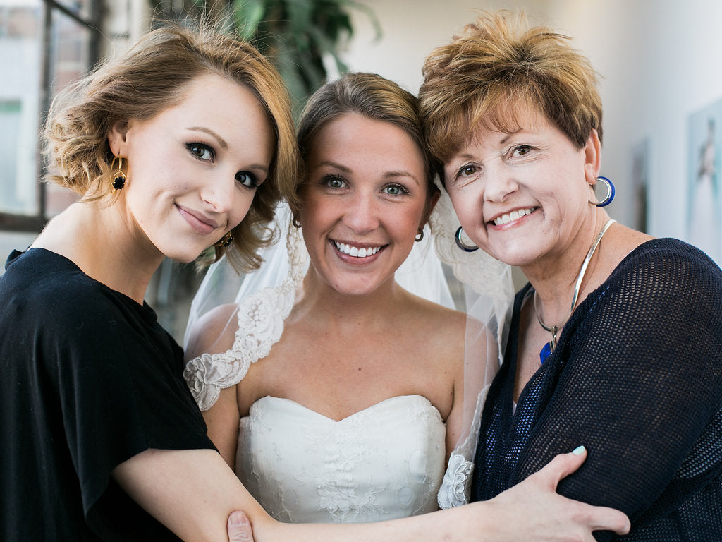 Bride with family