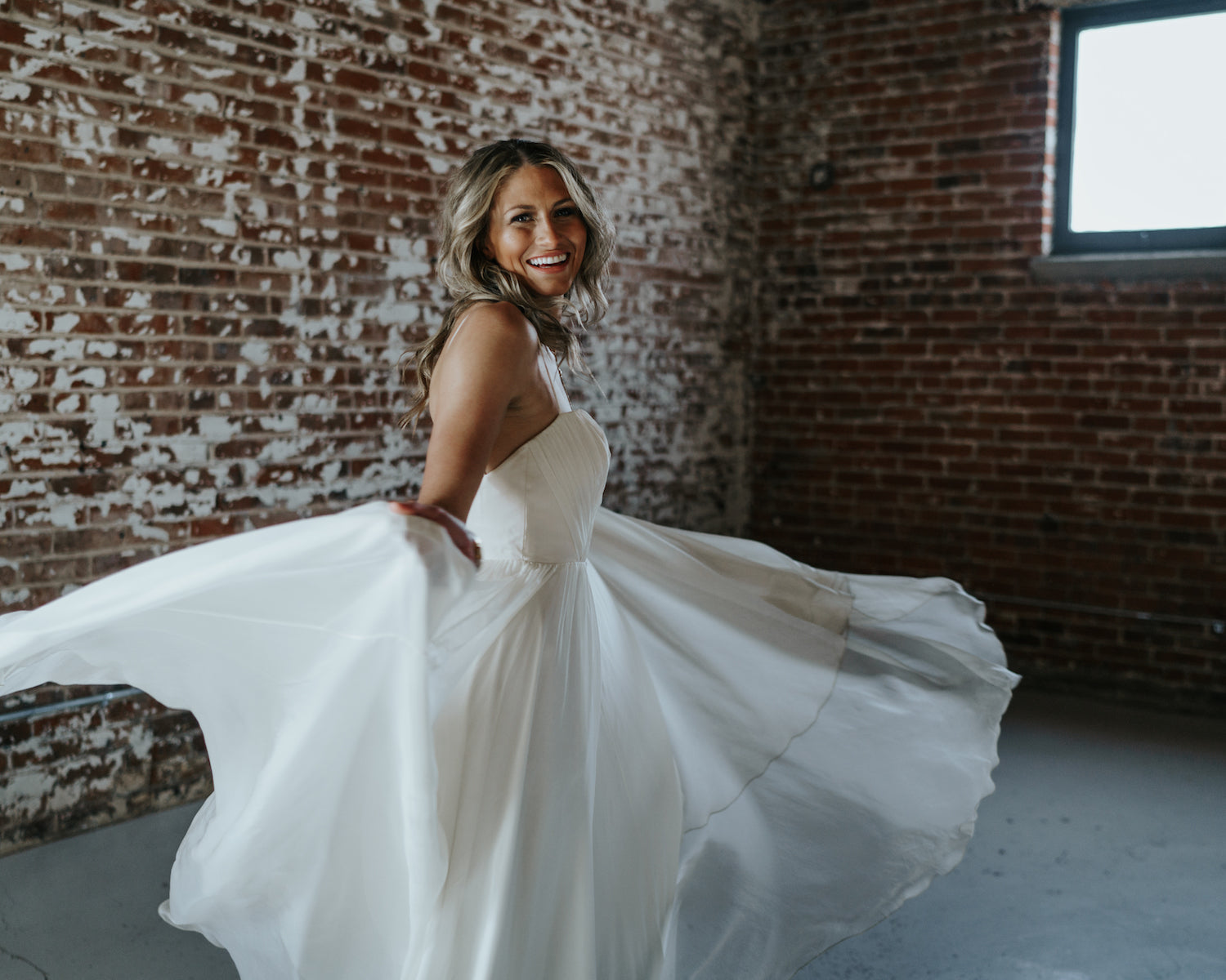 simple flowing leanne Marshall wedding dress