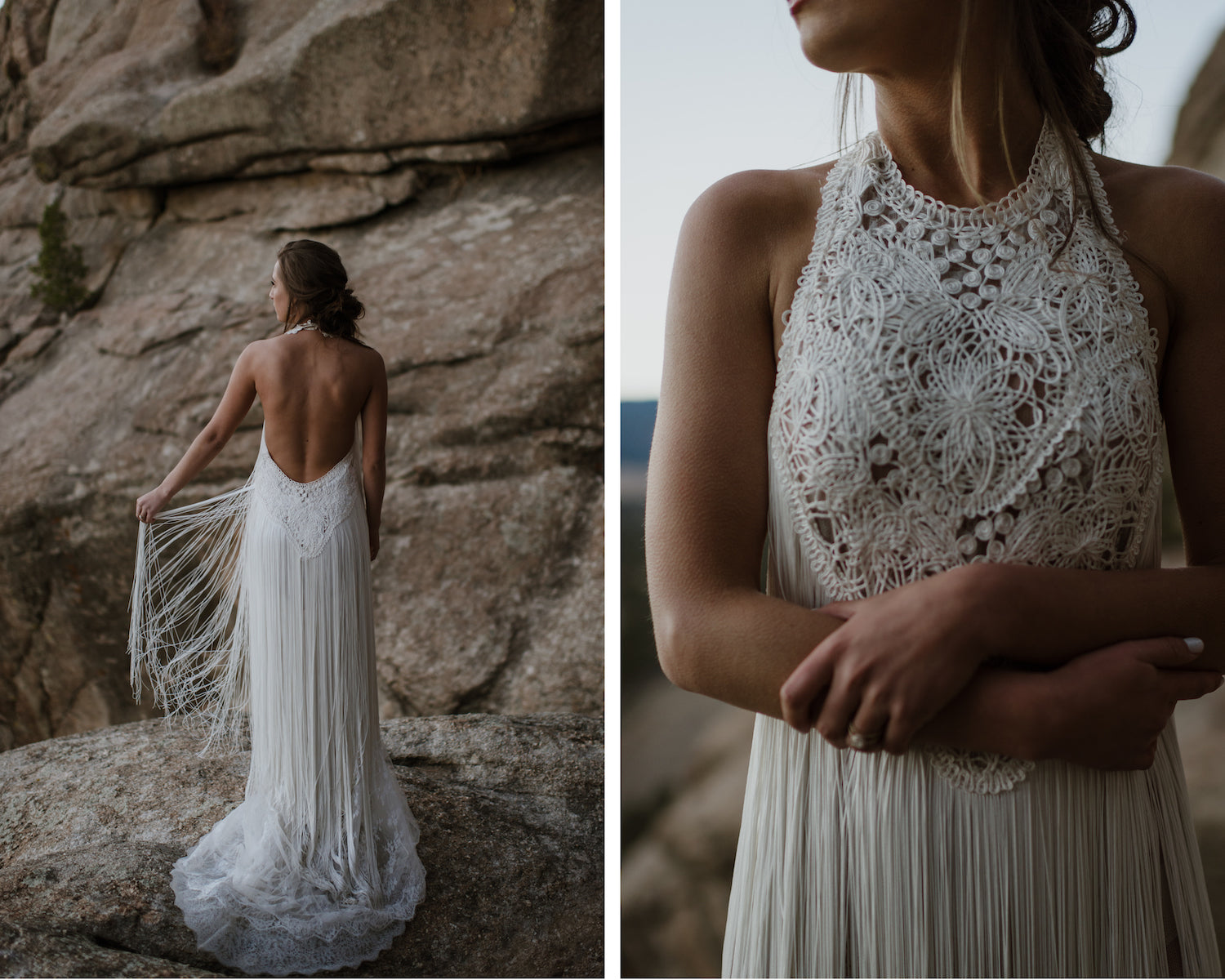 boho fringe wedding dress