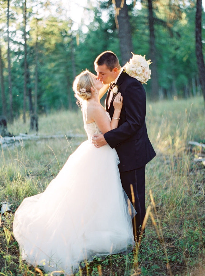Sarah Nouri wedding dress with groom