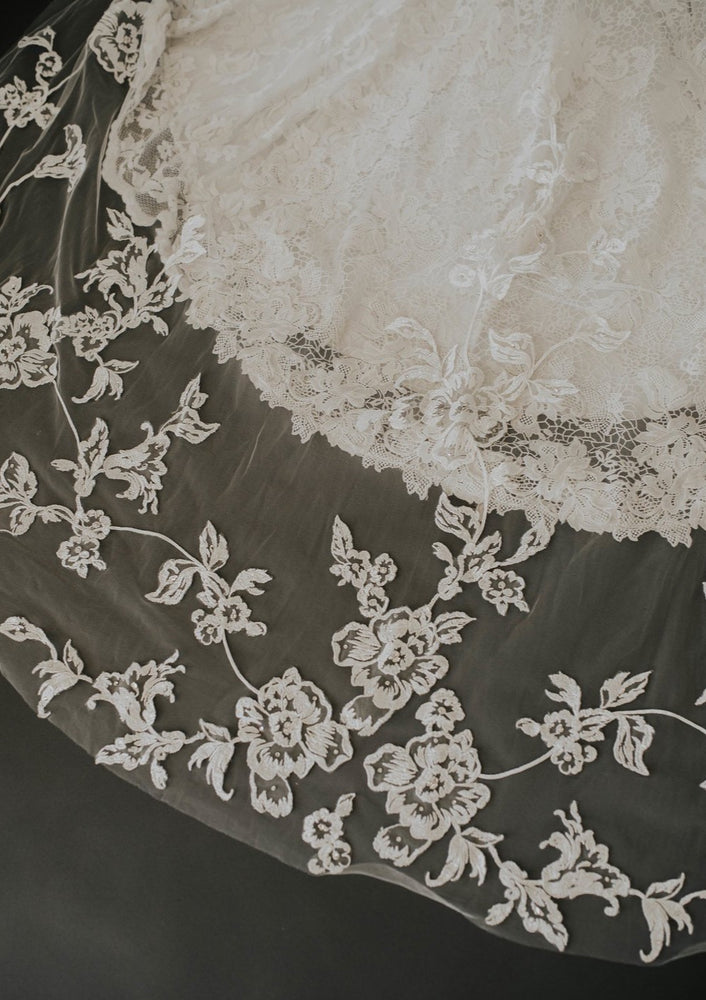 Ojai Cathedral Length Floral Embroidered Veil
