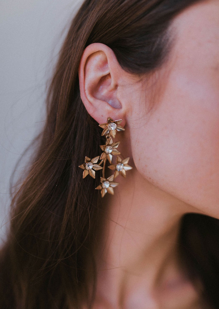 Francesca Gold Floral Drop Earrings with Crystal Center