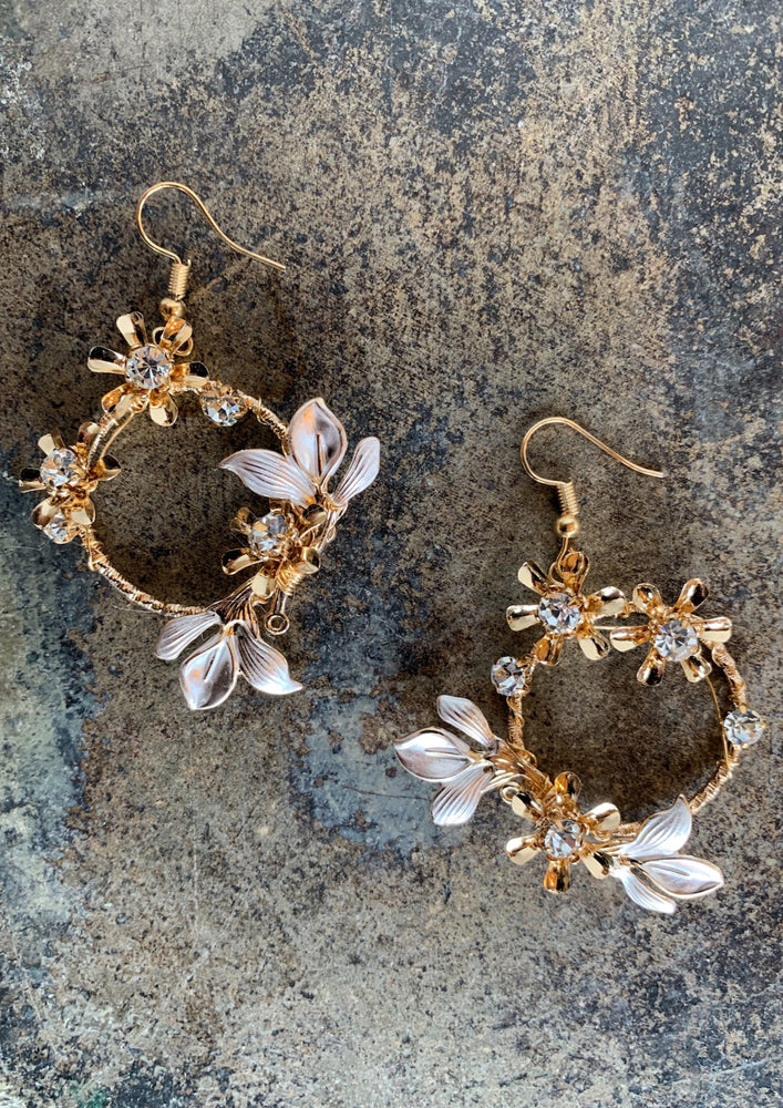 Gold Hoop Stone Floral Earrings