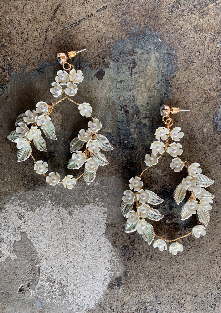 Pearl and Floral Drop Earrings
