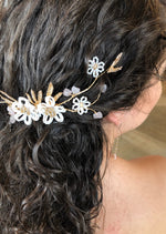Beaded Floral Gold Hair Comb