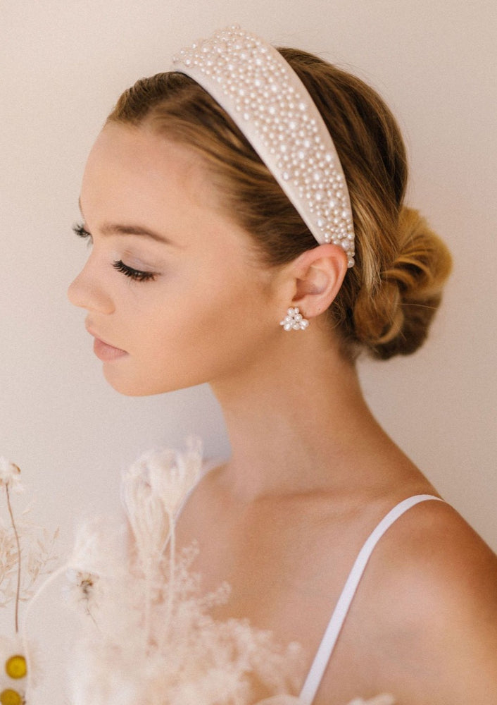 Fallon Pearl Detailed Thick Bridal Headband