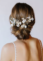 Bowen Gold Floral and Opal Headpiece