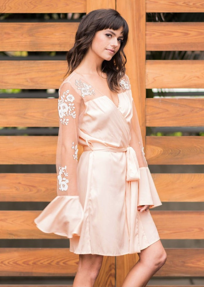 Long Sleeved Pink Lace Robe