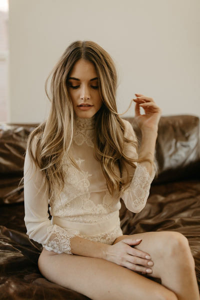 creme lace bridal bodysuit