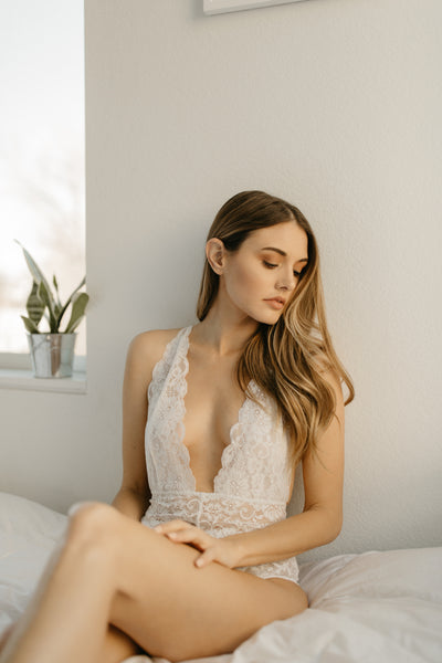 White French Lace Bridal Bodysuit