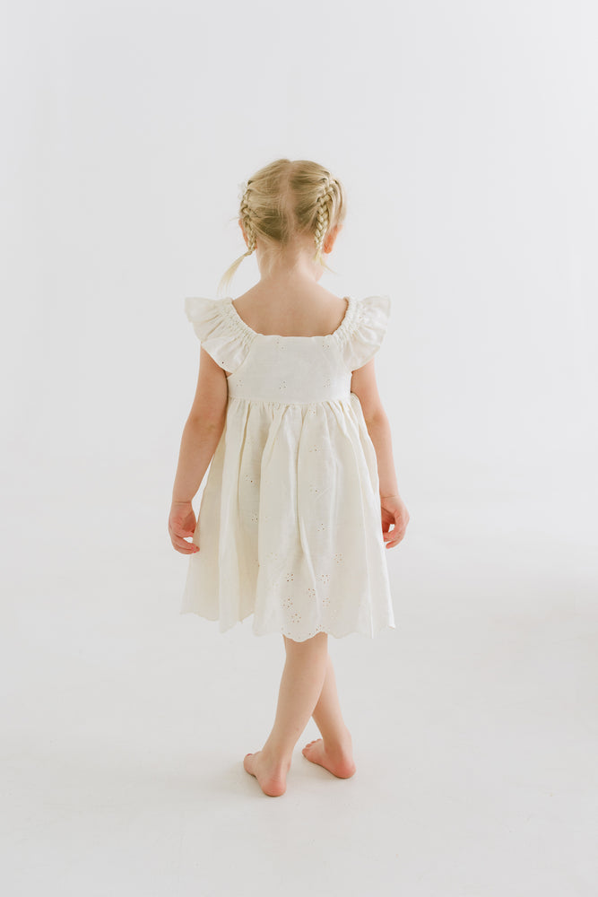 Cream Colored Linen Flower Girl Dress