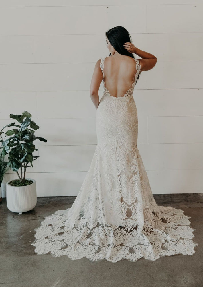 Modern Bohemian Lace Wedding Dress