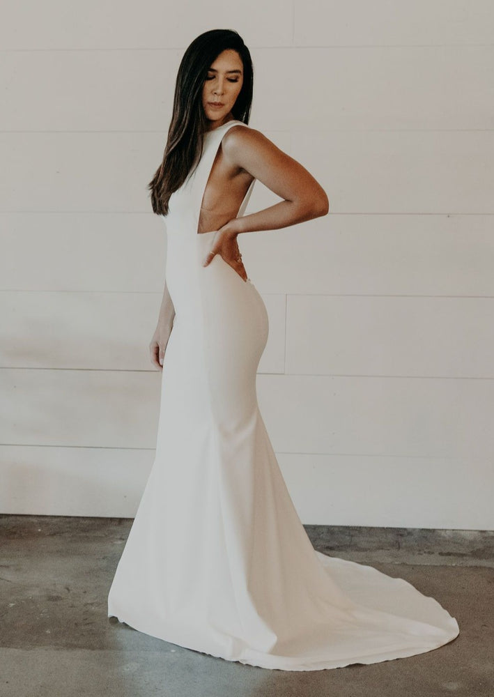 High Neck Crepe Wedding Gown With Exposed Side