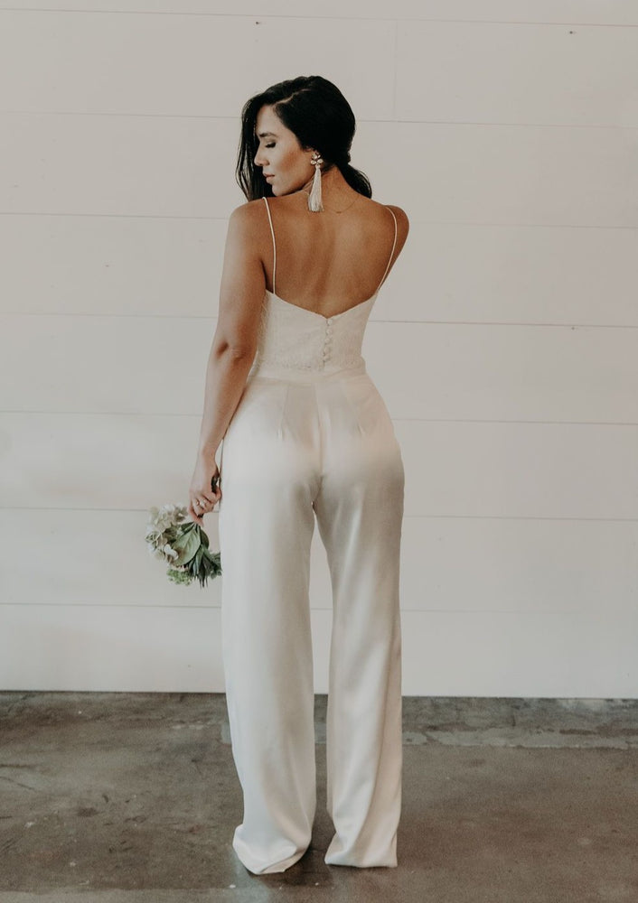 Silk Charmeuse Ivory Wide Legged Pants