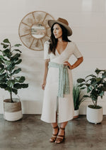 Long Cap Sleeve Midi Dress