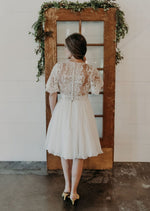 Lace Flutter Sleeve Plunging Aline Dress