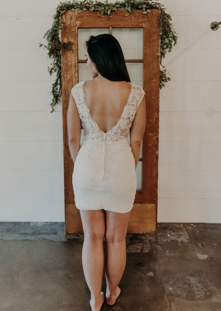 Plunging Lace & Beaded Mini Dress