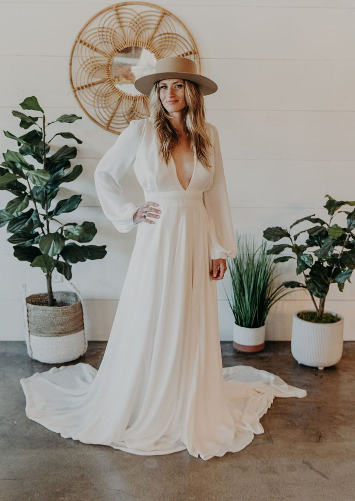 Long Sleeve A-Line Bohemian Wedding Dress