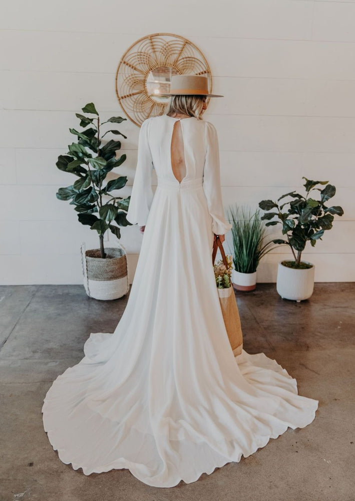 Bohemian Long Sleeve A-Line Wedding Dress