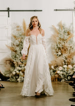 flowing skirt wedding dress