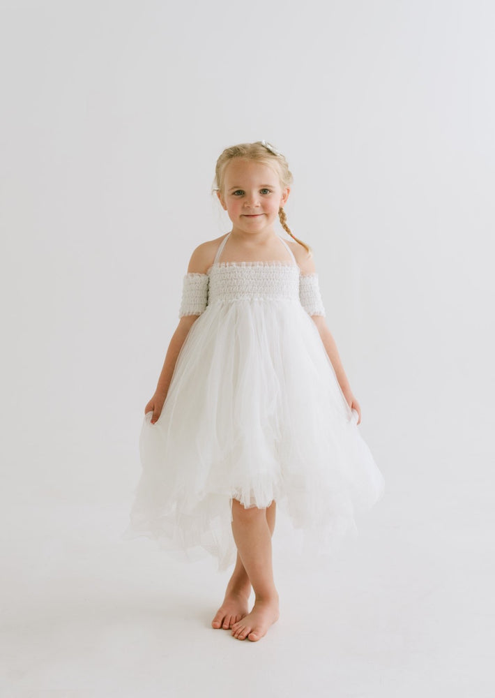 off the shoulder flower girl dress