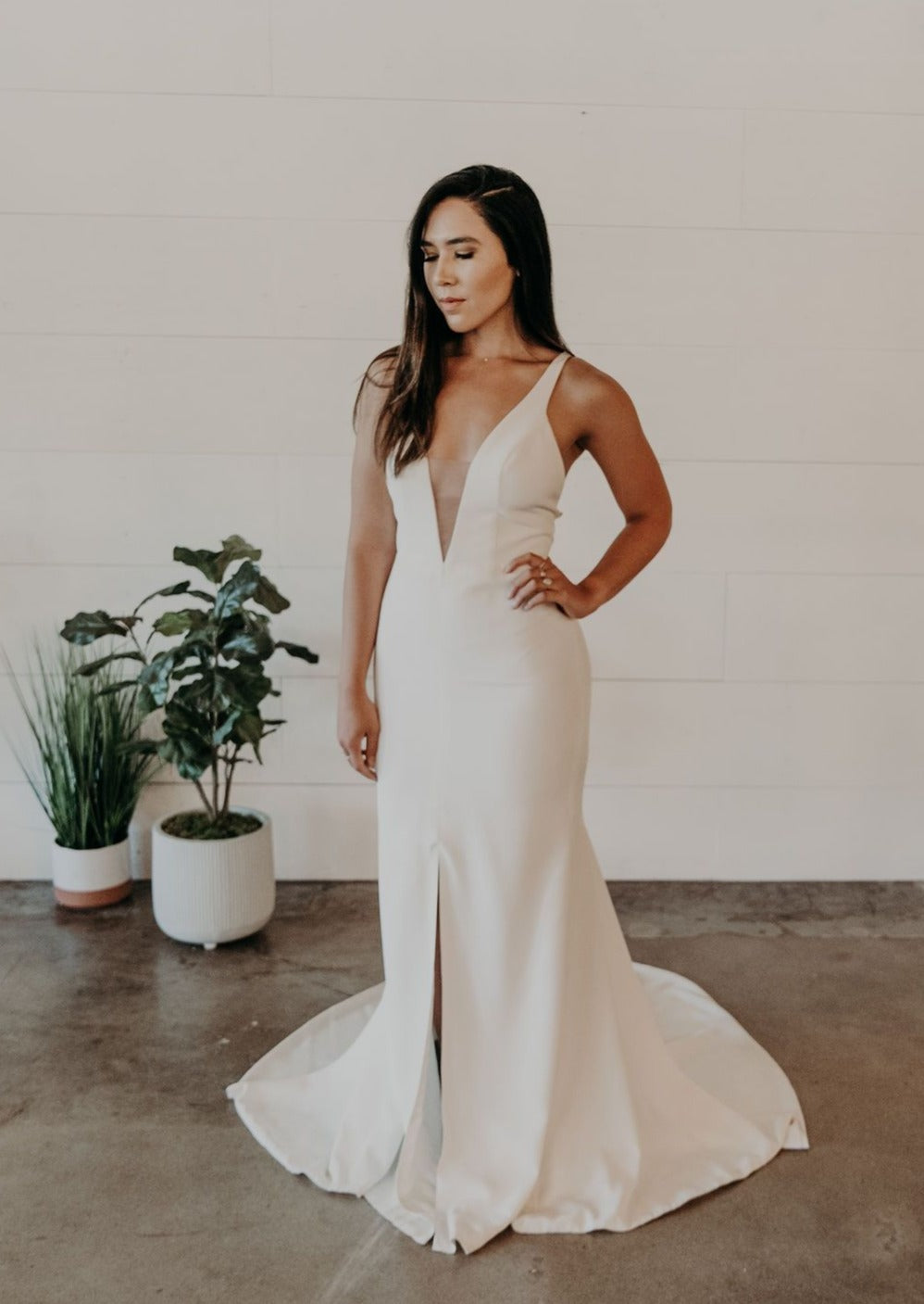 Crepe Modern Wedding Gown with Slit