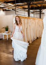 Ivory  Modern Lace Aline Wedding Gown Denver Colorado