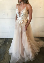 wedding dress with pink tulle