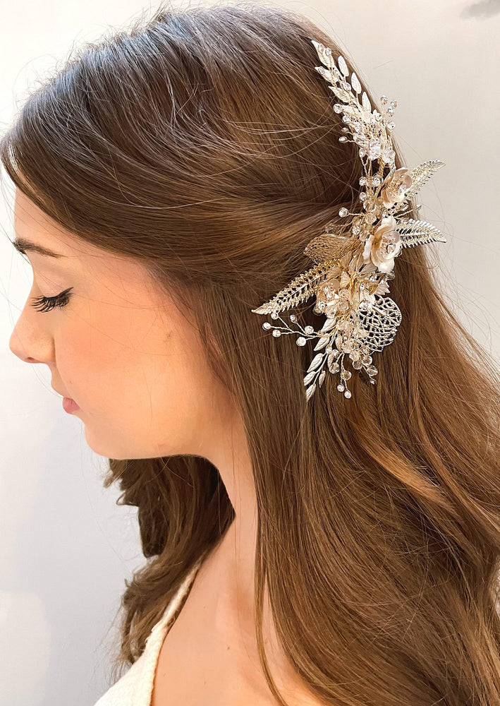 brushed gold florals with crystal hair piece