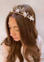 Small Flowers and Gold Leaf Tiara