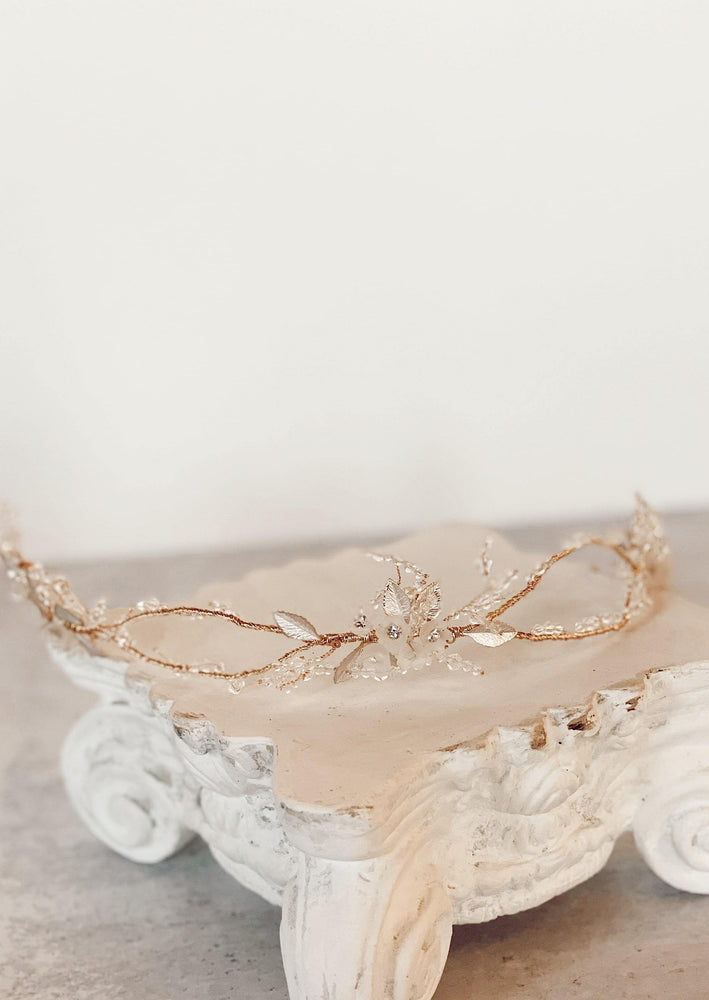 Gold vine bridal headpiece
