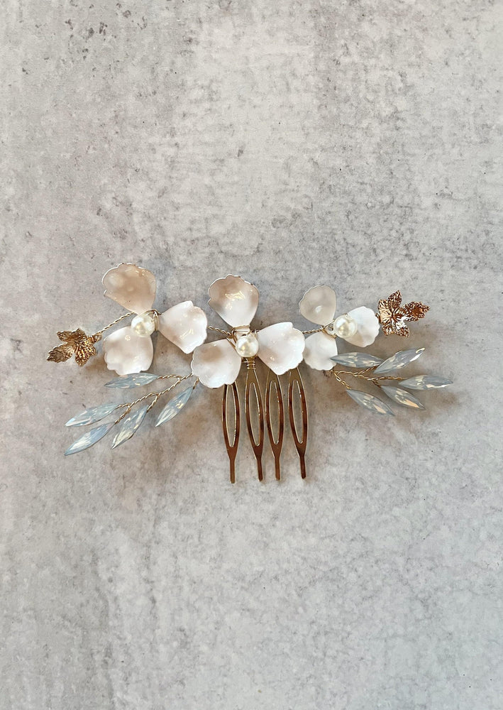 Delicate Flower and Leaf Hair Comb