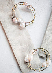 Baroque pearl and bead bracelet