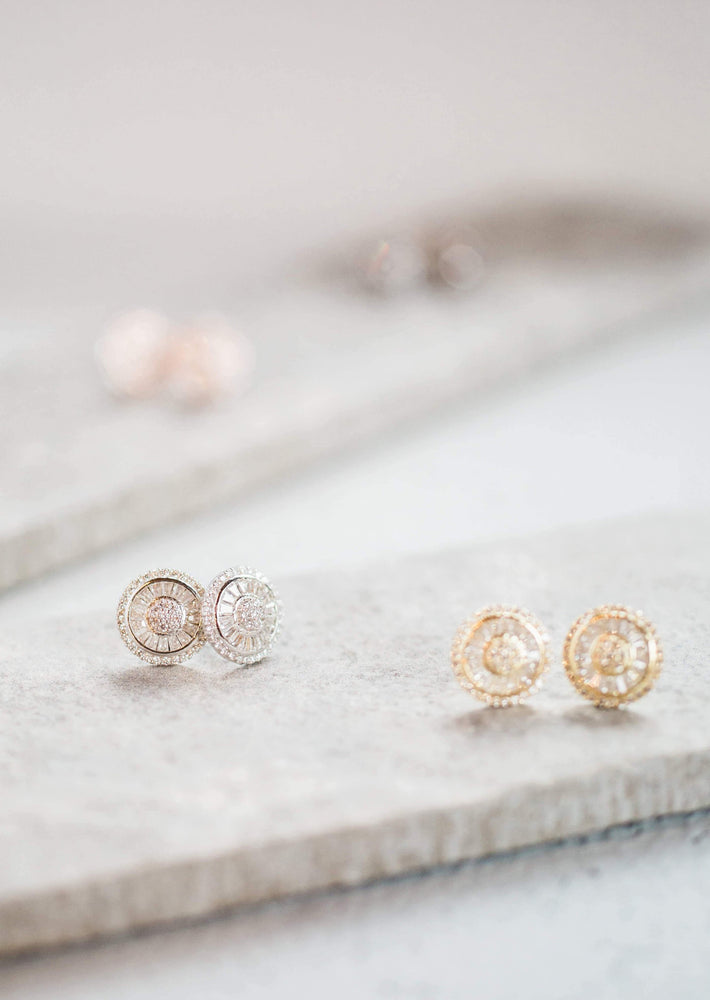 gold Baguette Stud Earrings