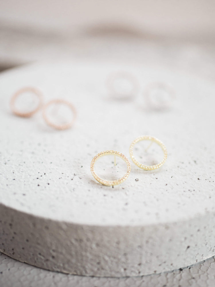 Gold Pave Circle Earrings