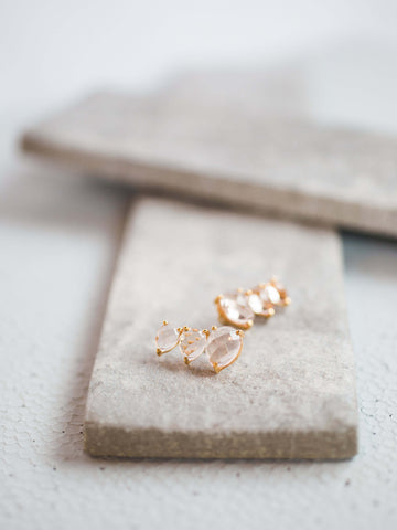 Morganite Gemstone Climber Earrings