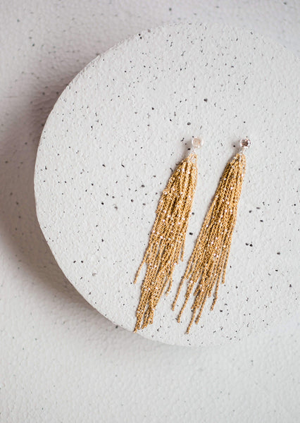 Gold Bridal Tassel Earrings