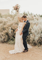 Boho High Neck Fitted Wedding Gown
