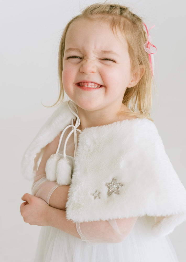 Flower Girl Shawl Fur Wrap in Snow White