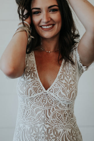 white and nude lace dress for honeymoon or rehearsal