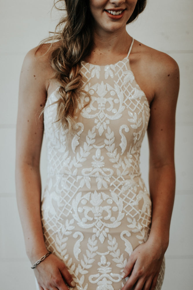 long white and nude beaded dress for wedding reception