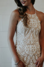 long white and nude beaded dress for wedding reception or bridesmaid dress