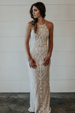 long white and nude beaded dress for wedding rehearsal