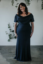 long navy off the shoulder mother of the bride dress