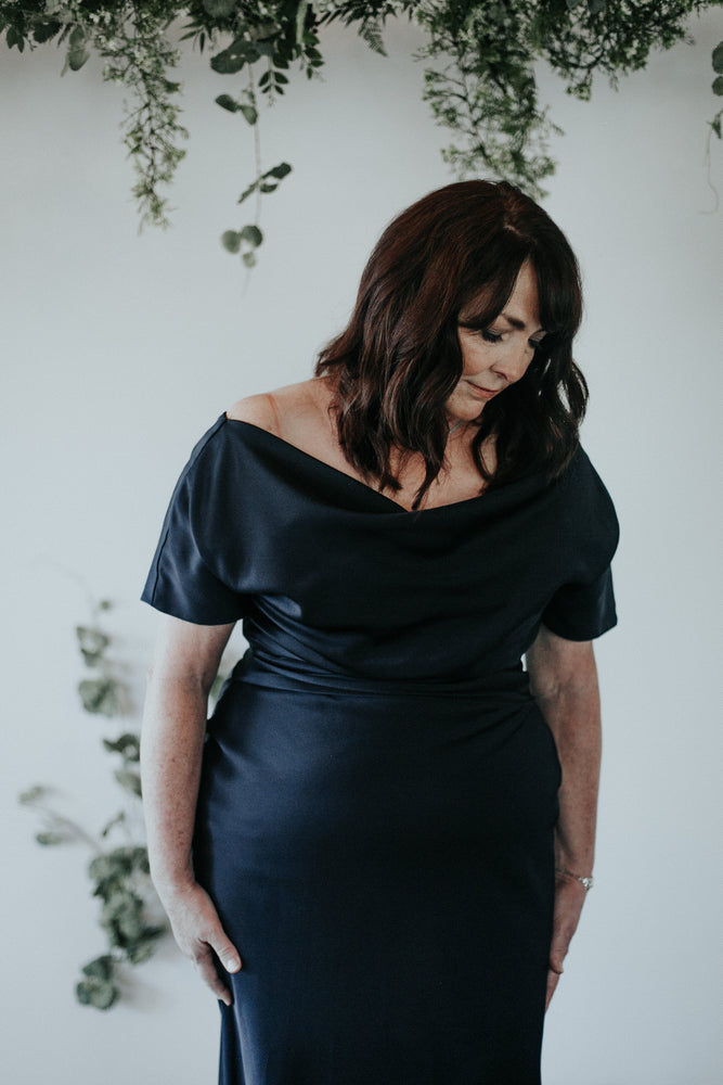 long navy off the shoulder mother of the bride gown